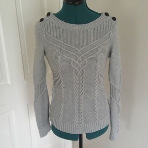 Banana Republic Grey Cable Knit Sweater
